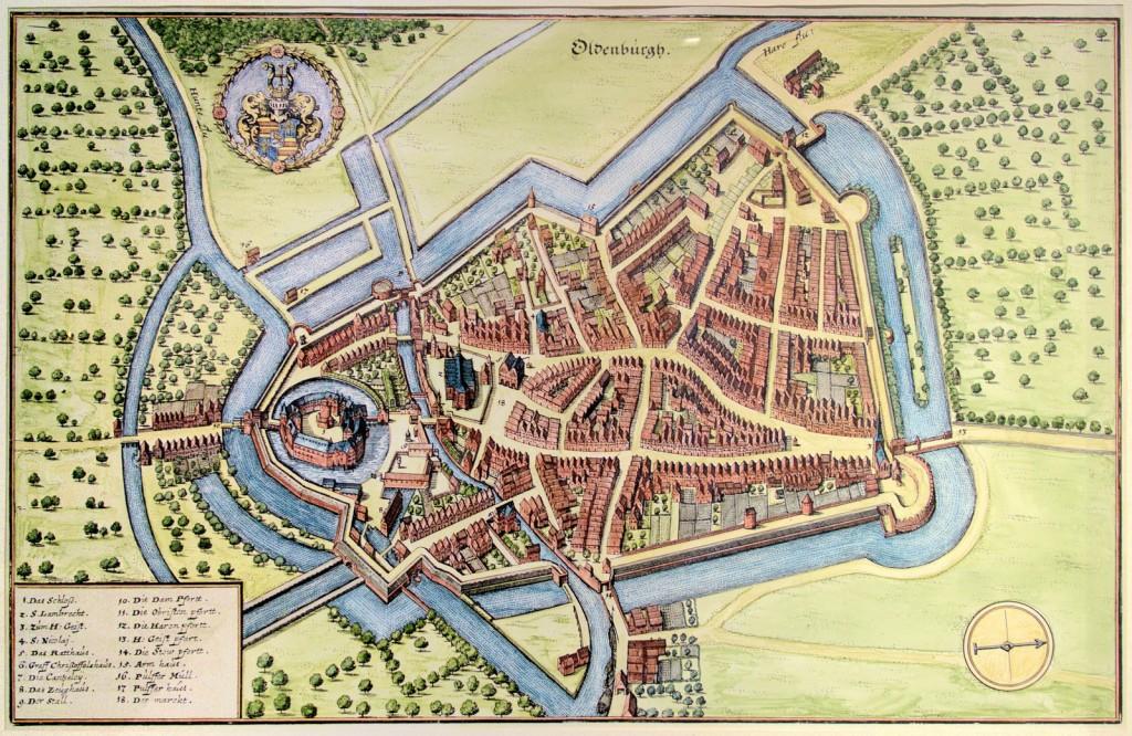 Vogelschauansicht Oldenburgs von Osten, Matthäus Merian, erschienen in Topographia Westphaliae 1647