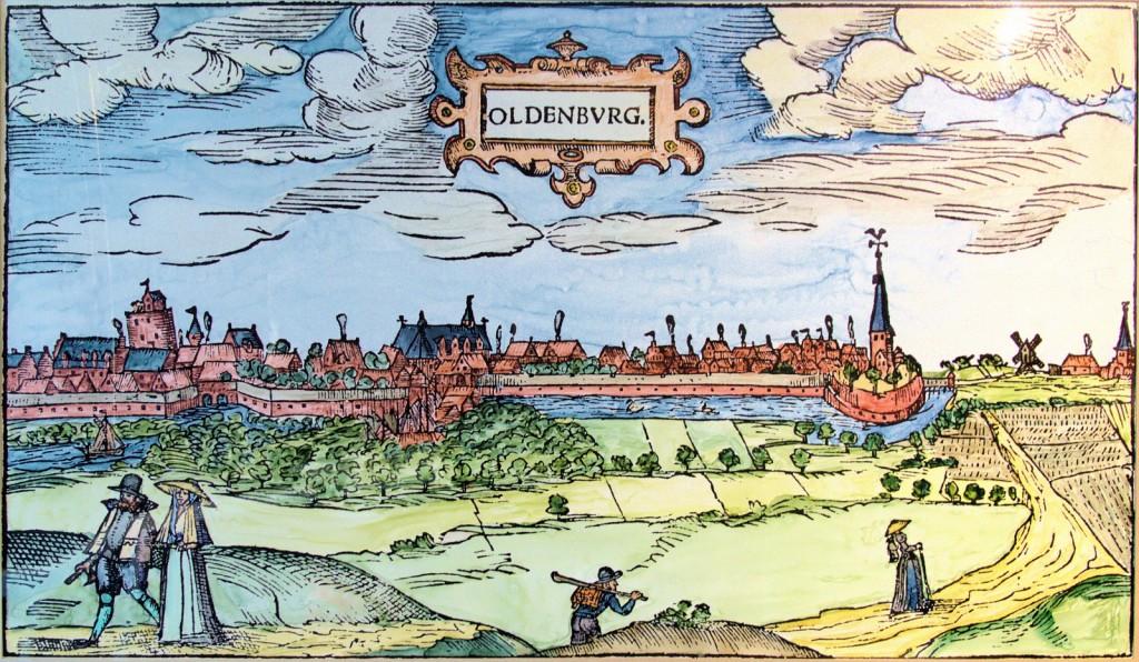 Ansicht der Stadt Oldenburg von Nord-Osten, wohl 1598/99, Johannes Schaffer