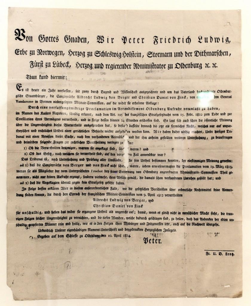 Peter Friedrich Ludwig erklärt nachträglich zuvor von den französchen Besatzern Verurteilte für unschuldig, 1814