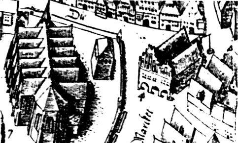Ausschnitt aus dem Vogelschauplan von Pieter Bast mit der Lambertikirche und dem Rathaus (II), 1598