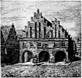 Rekonstruktion der Rathaus(II)-Ansicht von der Marktseite. Federzeichnung von J. Gölzer nach Pieter Bast. um 1900