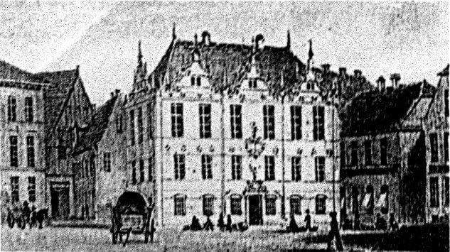 Das Gebäude des 1635/41 errichteten Rathauss(III), um 1850 (Vorlage: Ausachnitt aus einer Farblithographie von F. A. Borchel, Sladtmuseum Oldenburg)