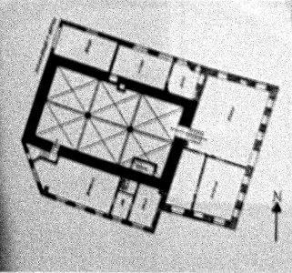 Grundriss des 1885/86 abgerissenen Schwertfeger-Baus; dunkel hervorgehoben: der älteste Rathaus-Bau (l) aus dem 14. Jahrhundert.