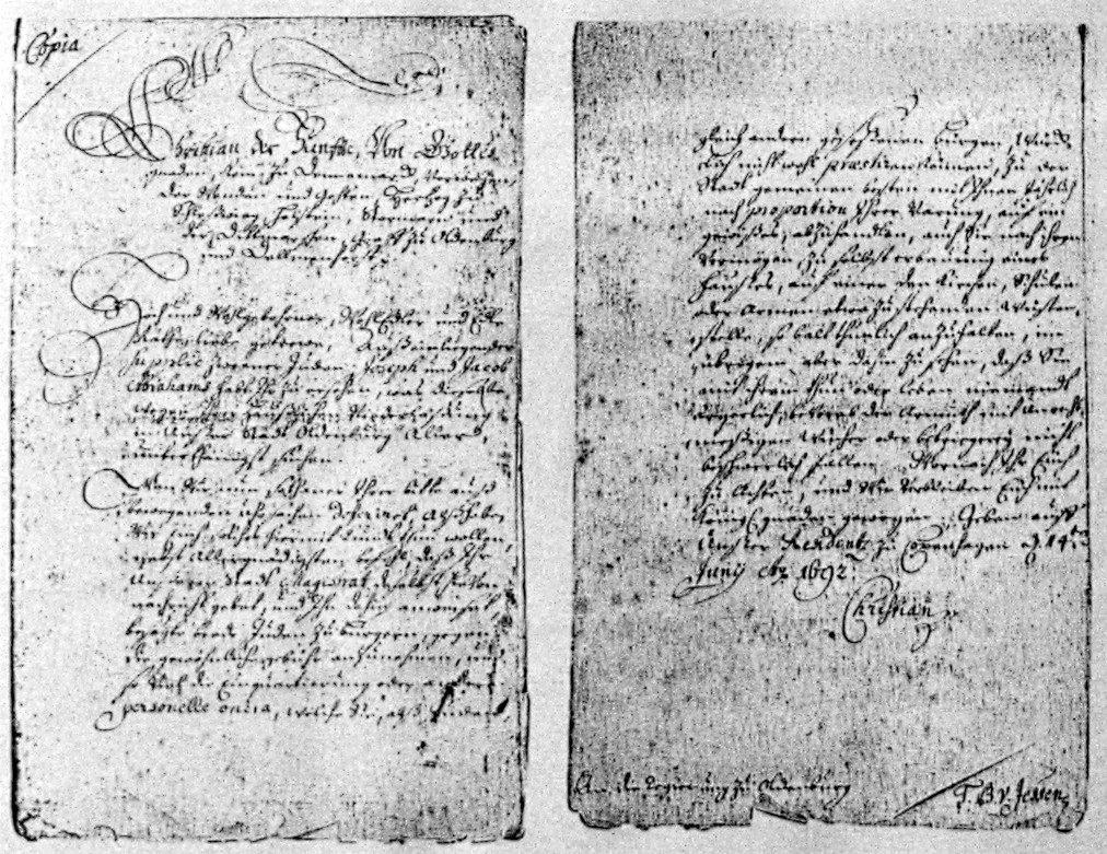 Anweisung des Königs Christian V. von Dänemark zur Aufnahme der Juden Joseph und Jacob Abraham(s). 14. Juni 1692 (Staatsarchiv Oldenburg)